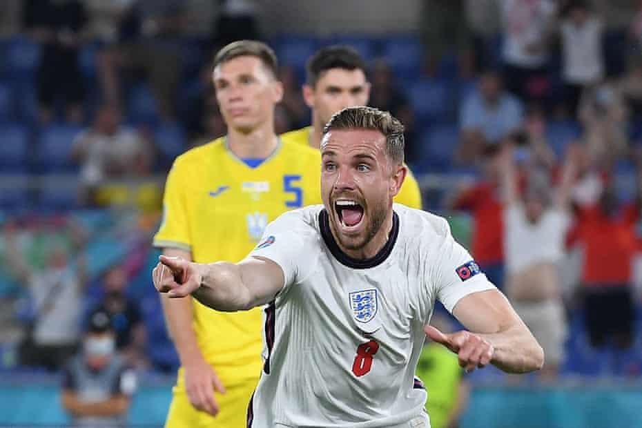England's midfielder Jordan Henderson celebrates scoring the team's fourth goal
