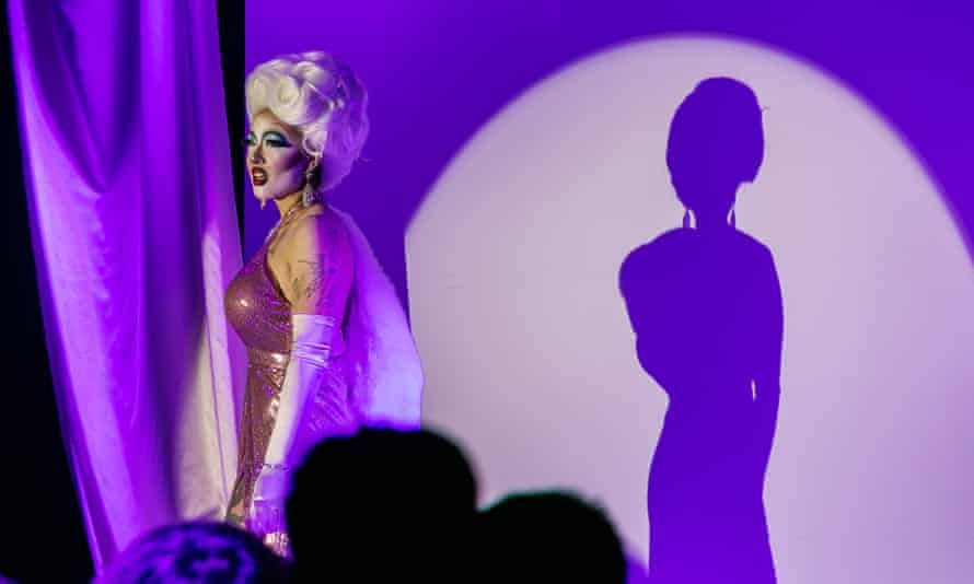 Shades of red ... non-binary performer Victoria Sin's drag show.