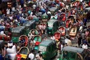 Dhaka, Bangladesh. Rickshaw riders in a traffic jam