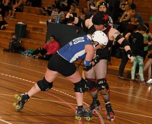 Jordan Raskopolous plays roller derby