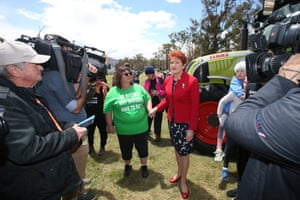 Pauline Hanson at the convoy to Canberra protesting against the Murray-Darling Basin Plan on the front lawns of Parliament House, Canberra this afternoon