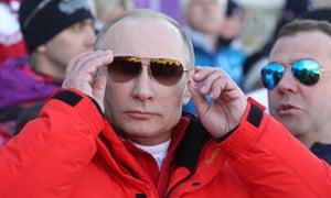 Vladimir Putin at the 2014 Winter Olympics in Sochi.