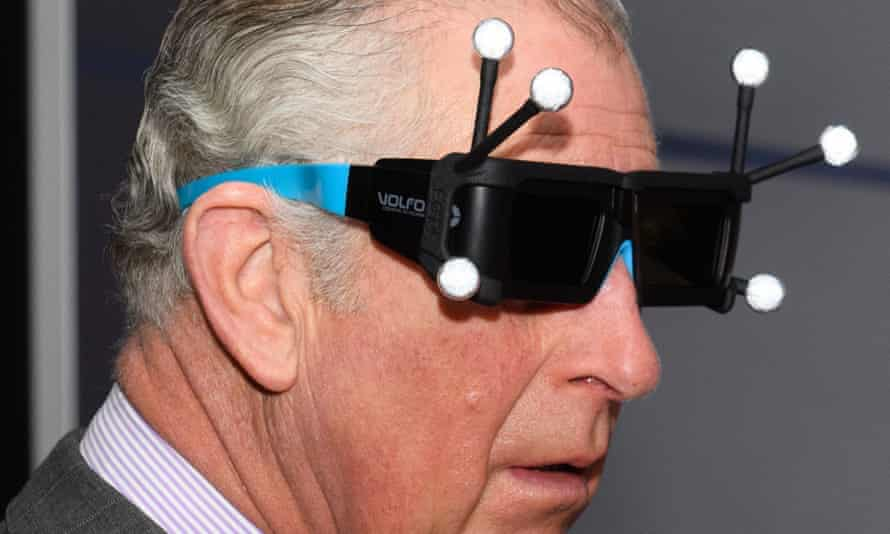 Charles experiences virtual reality.