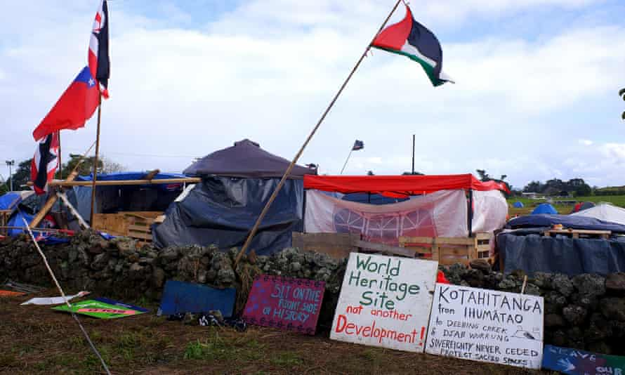 The occupation of Ihumātao, in opposition to the proposed Fletcher Building housing development.