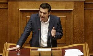 epa04784753 Greek Prime Minister Alexis Tsipras delivers his speech during a Parliament session in Athens, Greece, 05 June 2015. Prime Minister Alexis Tsipras briefed Members of Parliamnet on the latest crucial developments in the negotiations with Greece's creditors. EPA/YANNIS KOLESIDIS