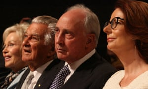 Paul Keating with, from left, Blanche d'Alpuget, Bob Hawke and Julia Gillard