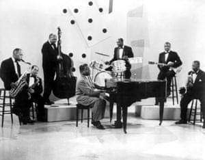 Fats Domino and his band perform a cameo in the film Disc Jockey Jamboree, 1957
