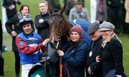 Paisley Park after winning the Cleeve Hurdle at Cheltenham in January for jockey Aidan Coleman, trainer Emma Lavelle and owner Andrew Gemmell.