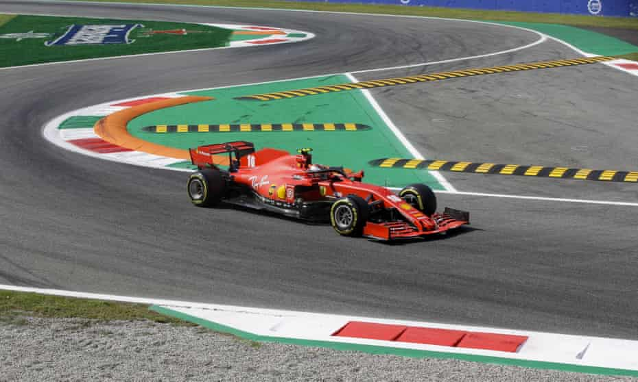 Charles Leclerc steers his Ferrari during the first practice session for Sunday's Italian Grand Prix at Monza.