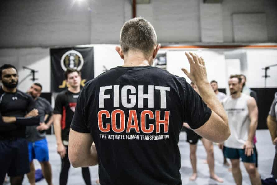 The coach speak gives participants a motivational prep talk for their fight day.