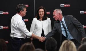 Queensland premier Annastacia Palaszczuk with LNP leader Tim Nicholls (left) and One Nation's Steve Dickson at the debate in Brisbane.