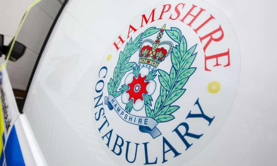 The Hampshire constabulary logo on a police car