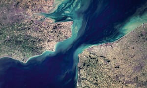High-resolution satellite image of the Channel, Dover, Calais and London.