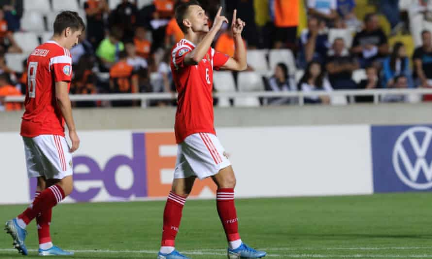 Denis Cheryshev celebrates scoring against Cyprus as Russia qualified for Euro 2020.