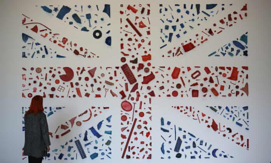 Postcard Flag (Union Jack) by Tony Cragg on display at the Yorkshire Sculpture Park in March 2015