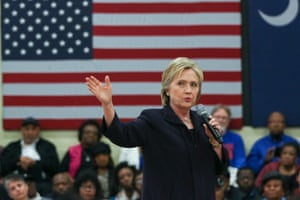 Hillary Clinton speaks during the Corridor of Opportunity town hall in Kingstree, South Carolina.