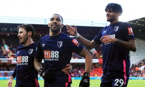 Callum Wilson (centre) after opening the scoring.