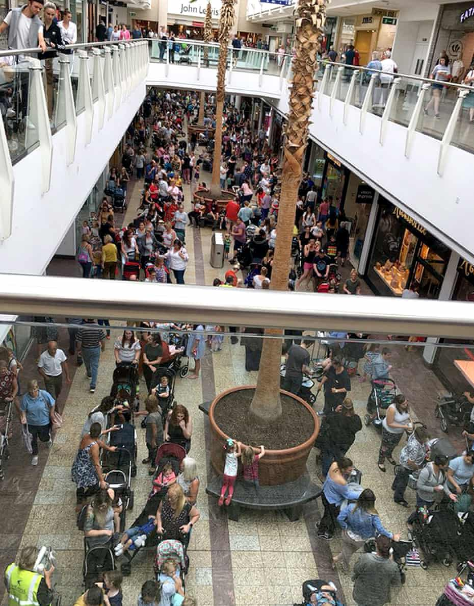 The queue for Build-A-Bear at the Mall Cribbs Causeway shopping centre in Bristol on 12 July.