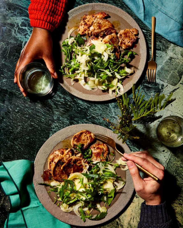 Yotam Ottolenghi's pork tenderloin with fennel and rocket salad