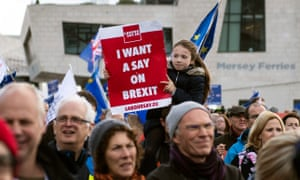 Campaigners take part in a People's Vote march in Liverpool
