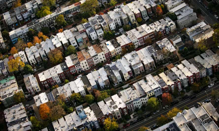 An aerial view of buildings in Washington DC – in the US housing market, demand massively outstrips supply.