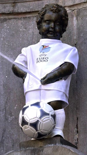 The Manneken Pis statue dressed up as a football player.