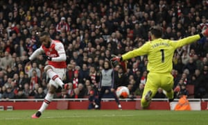 Arsenal's Alexandre Lacazette finishes past West Ham's Lukasz Fabianski after VAR ruled Mesut Özil had been incorrectly ruled offside in the buildup.