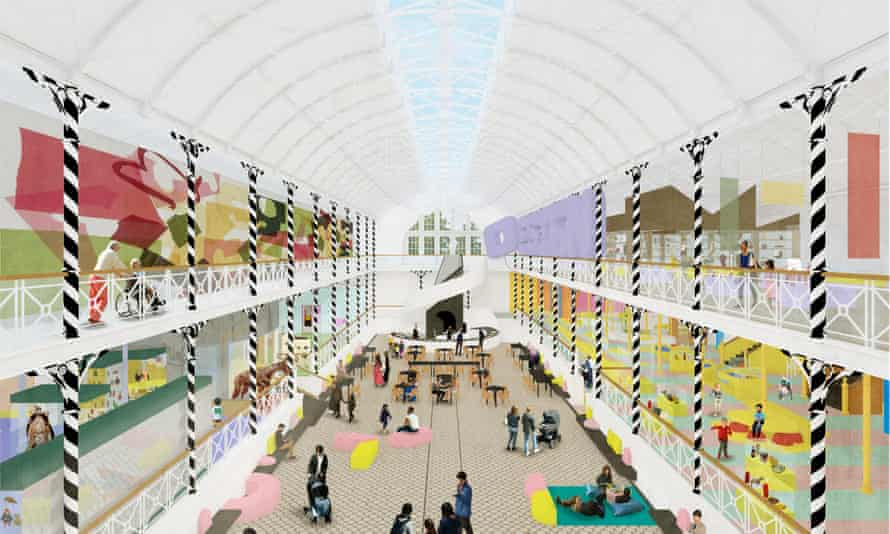 Architectural render of the new Museum of Childhood town square-style interior.