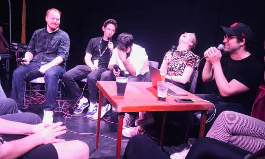 Trashfuture's podcast team (from left): Nate Bethea, Milo Edwards, Hussein Kesvani, Olga Koch and Riley Quinn