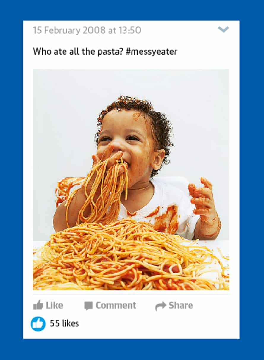 Child making a mess with spaghetti in tomato sauce