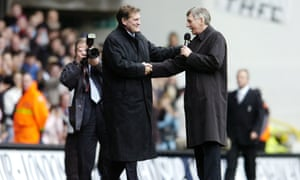 Martin Peters, right, with Glenn Hoddle at Tottenham Hotspur's ground, White Hart Lane, in 2007.