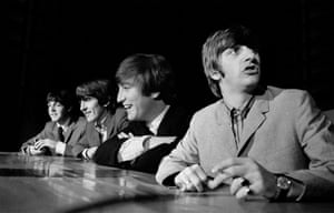 The Beatles at a press conference before a concert in Washington
