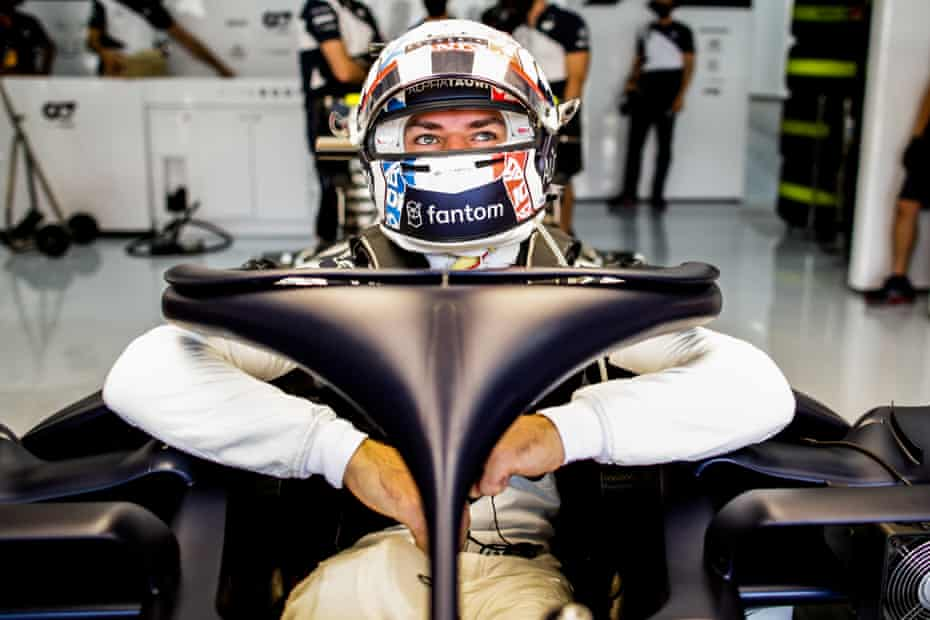 Pierre Gasly sits in his AlphaTauri ahead of practice at Circuit Paul Ricard on Thursday