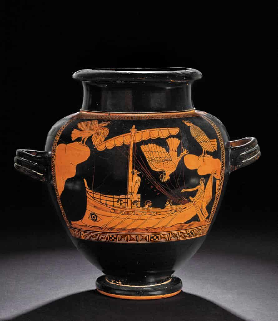Red-figure jar, c480-470BC: Odysseus, strapped to the mast, sails past the Sirens.