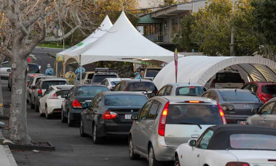 Drivers wait to receive nucleic acid tests at a testing site for COVID-19 in Auckland, New Zealand, Aug. 20, 2021. New Zealand reported 11 new Delta cases of COVID-19 in the community on Friday, bringing the total number of cases associated with the current Auckland community outbreak to 31. The current top level 4 national lockdown will be extended until 11:59 p.m. on Aug. 24, Prime Minister Jacinda Ardern announced at a press conference. New Zealand Auckland Extended Lockdown - 20 Aug 2021