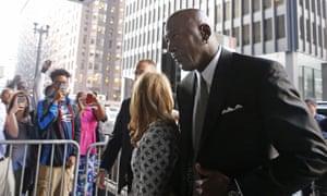 Michael Jordan arrives in court on Tuesday.
