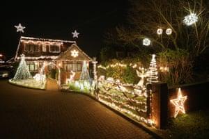 Christmas cheer on Hill Farm Road in Marlow Bottom, Buckinghamshire