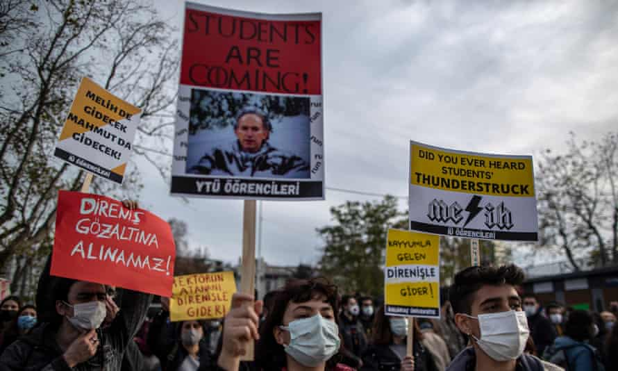 Students protest at Boğaziçi University in Istanbul
