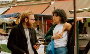 Brian Gleeson (Gabe) and Desiree Akhavan (Leila) in The Bisexual