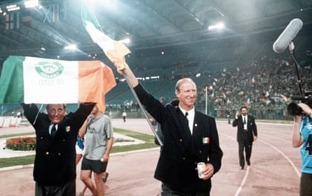 Jack Charlton salutes the Republic of Ireland fans at the 1990 World Cup quarter-final.