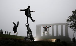 Performers from ISH Dance Collective: Elements of Freestyle, put on an impromptu performance in Edinburgh.