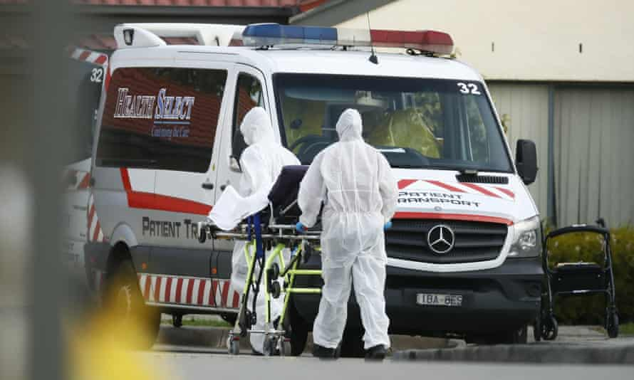 A resident is removed from St Basil's Home for the Aged in Fawkner in Melbourne's north.