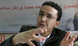 Hicham Mansouri addresses a press conference in Rabat after his release.