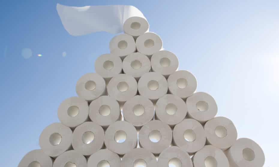 Toilet roll stacked up in pyramid