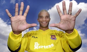 David James poses for pictures after joining West Ham in 2001.