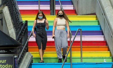 Shoppers wear masks in Aberdeen city centre .