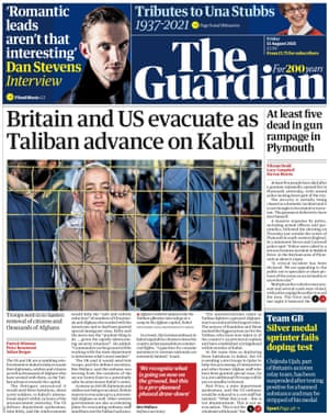 Guardian front page, Friday 13 August 2021