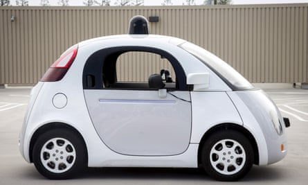 On a self-driving highway: a prototype of Google's driverless vehicle in California.