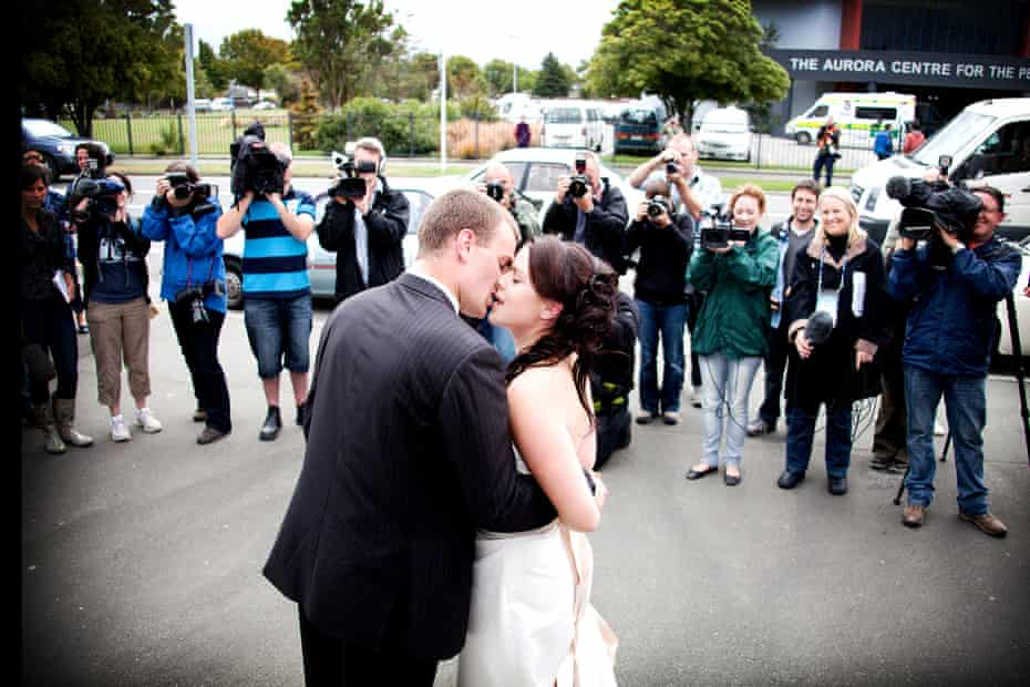 Emma and Chris Greenslade at their wedding three days after the February 2011 earthquake