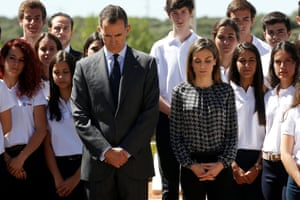 Madrid, Spain King Felipe VI and Queen Letizia observe a minute of silence for the victims of the Nice terror attack at the end of a Royal audience with students